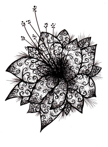 an abstract black and white floral design with lots of ornamental patterns and floral elements