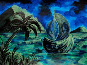 """""""Boat at Night"""" Acrylic on Canvas Paper"""