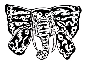 a decorative tribal tattoo design of an abstract elephant with ears that look like wings of a butterfly